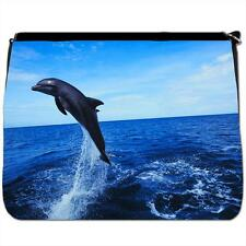 Dolphin Jumping Black Large Messenger School Bag