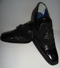 Mens Giorgio Brutini 210791 Black Leather Croco Embossed Quilted Dress Shoes
