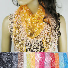 Hot Lace Tassel Rose Floral Knit Mantilla Triangle Hollow Charm Scarf Shawl Wrap