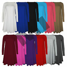 New Womens Plain Long Sleeve Stretch A Line Skater Flared Swing Dress Top 8-22