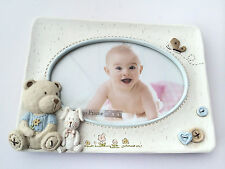 New Baby 6x4 resin Photo Frame - with cute teddy bear and bunny detail
