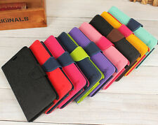 Dual Color Flip Leather Wallet Case Folio Stand Cover Skin For LG G2 Phone