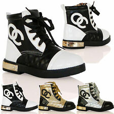 K2C Girls Lace Up Army Boots Cute Fashion Gold Heel Plate Casual Childrens Shoes