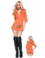 Busted Sexy Prisoner Orange Romper Womens Fancy Halloween Party Costume S-XL