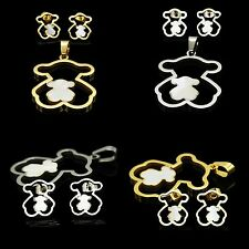 "Stainless Steel GOLD Hollow shell Bear Pendant & Earring SETS 20""NECKLACE CHAIN"