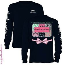 NEW Simply Southern Bow Anchor Chevron Pattern Girlie Bright Long Sleeve T-Shirt
