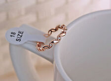 1pc Simple Sweet Hollow Leaf Style Zircon 18K Rose Gold Plated Lady Ring 3 Color