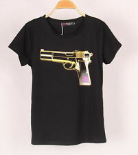 3D Gun Print White Black T Shirts Women Soft Modal Short Sleeve Tees Tops S M L