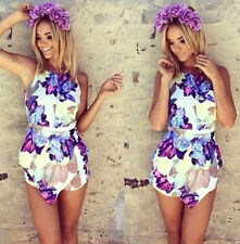 New Womens Ladies Sexy Slim Sleeveless Floral Jumpsuit Romper Trousers Clubwear