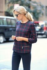 NWT_ZARA CHECKED TOP WITH ZIPS_SIZE L