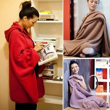Women's Coral Fleece Shawl Cloak Hooded Cape Coat Warm Blankets Elegant Shawls