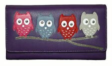 NEW  WOMENS MALA LEATHER OWL FLAP OVER PURSE  STYLE KYOTO 315545 COLOURS VARIOUS