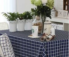 "94""X57"" Rectangle Cotton Table Cloth Table Cover For Kitchen 050 Blue"