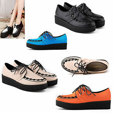 WOMEN PU LEATHER  FLATS WEDGE LACE UP GOTH PUNK CREEPERS SHOES CASUAL AU 3.5-8.5