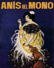9404.Anis del mono.woman walking with monkey.POSTER.decor Home Office art