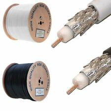 1000 ft RG6 Coaxial Cable Dual Shield 18AWG White Black Coax Satellite TV