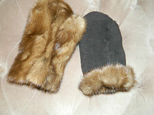UNISEX REVERSIBLE MINK FUR MITTENS FOR GIRL OR BOYS Sz.4-7-11 y.o.