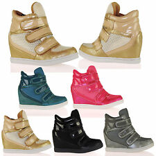 D4X Womens Hidden Wedges Trainers Triple Velcro Strap Fashion Ladies Shoes Size