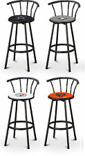 "FC63 29"" TALL SPORTS LOGO THEMED BLACK FINISH METAL SWIVEL SEAT BAR STOOLS"