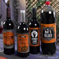 HALLOWEEN BOTTLE/DRINK LABELS - 2 Pack Sizes / Designs - Fun Party Decorations