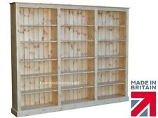 """Solid Pine Bookcase; 6ft x 7ft 6"""" Hand-Crafted Adjustable Display Shelving Unit"""