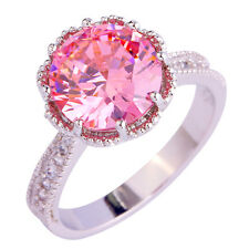 Love Gift Lady's Pink & White Topaz AAA Silver Ring Size 6 7 8 9 10 11 Free Ship
