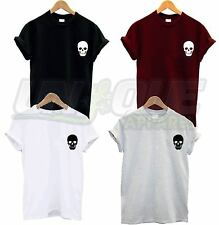 SKULL HEAD BREAST LOGO T SHIRT TEE TOP DEVIL HALLOWEEN SATAN GOTH GOTHIC EMO