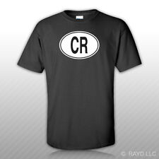CR Costa Rica Country Code Oval T-Shirt Tee Shirt Free Sticker Costa Rican euro