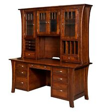 "73"" Amish Executive Computer File Desk Hutch Home Office Solid Wood Furniture"