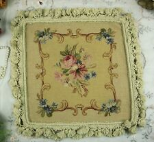 "14"" Vintage Pink Rose Morning Glory Bouquet Needlepoint Pillow 400 Stitches"