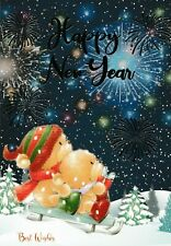 happy NEW YEAR cute new year wishes / greetings card - 4 x cards to choose from!