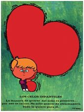 9698.Los celos infantiles.child hugging heart.POSTER.decor Home Office art