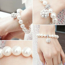 Vintage Women Pearl Ball Crystal Bracelet Rhinestone Jewelry Chain Bangle New