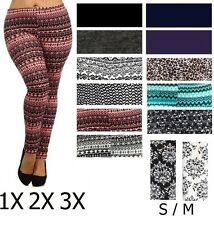 MULTICOLOR Tribal Damask Print Plus Leggings Pants Sizes S M 1X  2X 3X