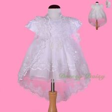 Beaded Embroidery Baptism Christening Dress Gown Cape Bonnet Baby Sz 00 0 1 #008
