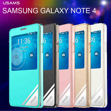 USAMS APP Smart case Window View Flip Case Cover for Samsung Galaxy Note 4 N910