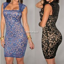 Sexy Women Lace Clubwear Cocktail Evening Bodycon Party Sleeveless Dress HD23L