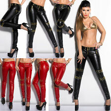 Sexy Women Wet Look Jeans Trouser Leather Look Pant With Gold Rivets/Zipper6/14
