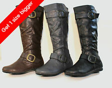 New Women Knee High Fashion Faux Leather Boots Shoes Size