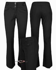 Ladies Smart Work Office School 3 Button Bootleg Trousers 31in Leg Sizes 6-14