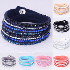 Lackingone Fashion Leather Wrap Wristband Rhinestone Multilayer Bracelet Bangle