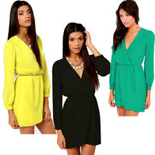 2014 Sexy Women Chiffon Long Sleeve Dress Party Cocktail Mini Dress Size 6-16