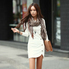 Women Ladie's Evening Clothes Party Long Sleeve Dress Cotton Winter Dress