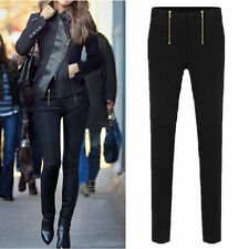 NEW Women Pants Zipper Pencil Pants Stretch Leggings Pants Trousers Tights Pants