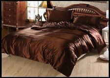CHOCOLATE SOLID 1000TC SATIN SILK FITTED/SHEET SET/DUVET SET CHOOSE SIZE&ITEM