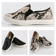 Womens Python Slip On Sneakers Snake Skin Flat Loafer Trainers Casual Round Toe