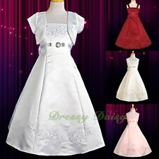 Satin Rhinestone A-Line Wedding Flower Girl Communion Dress Bolero Sz 2-12 FG018