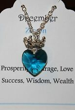 Custom Birth Stone Heart Necklace with Crown