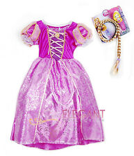 Disney Princess Rapunzel Children Girls Gown Costume Halloween Dress 3-9 Yrs Wig