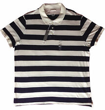 JCP Mens Striped Navy/White Knit Collar Short Sleeve Comfortable Soft Polo Shirt